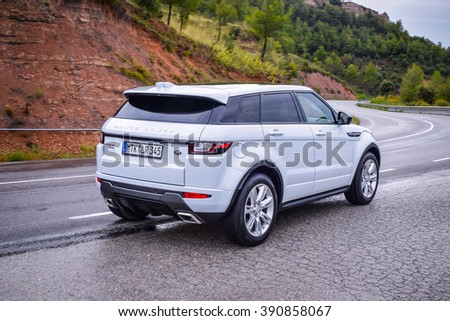 BARCELONA - AUGUST 15, 2015: Updated 2016 Range Rover Evoque at the test drive near Barcelona. Range Rover was careful to leave intact the chunky and charming aesthetics of its bestselling model. - stock photo