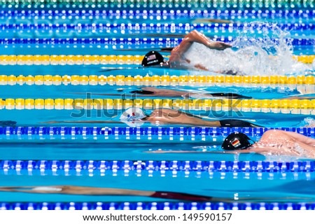 BARCELONA - AUGUST  2:    Yannick Agnel ( France)     in Men's 4 x 200 Freestyle during Barcelona FINA World Swimming Championships on August 2, 2013 in Barcelona, Spain - stock photo