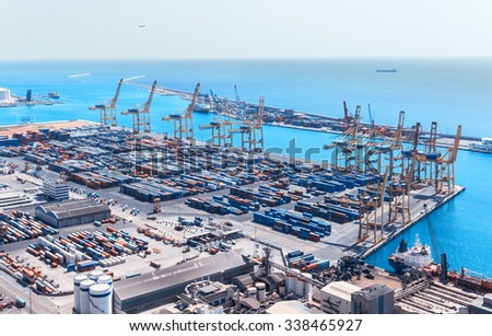 Barcelona Cargo Port Terminals Transport and Facilities At The Docks. - stock photo