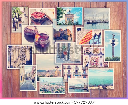 Barcelona collage, a few photos on a wooden background, postcard - stock photo