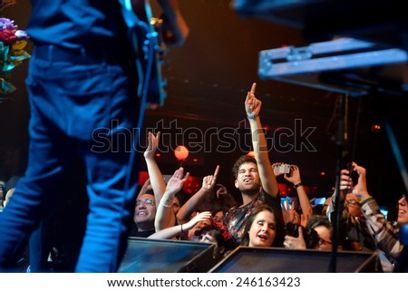 BARCELONA - DEC 05: Crowd at the Fuel Fandango (electronic, funk, fusion and flamenco band) concert at Apolo (venue) on December 05, 2014 in Barcelona, Spain. - stock photo