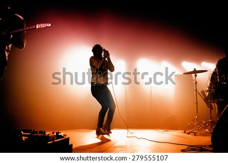 BARCELONA - DEC 10: Friendly Fires (band) performs at Razzmatazz on December 10, 2011 in Barcelona, Spain. - stock photo