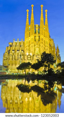 BARCELONA - DECEMBER 28: La Sagrada Familia, cathedral designed by Antoni Gaudi that is being build since 1882, on December 28, 2012, Barcelona, Spain. - stock photo