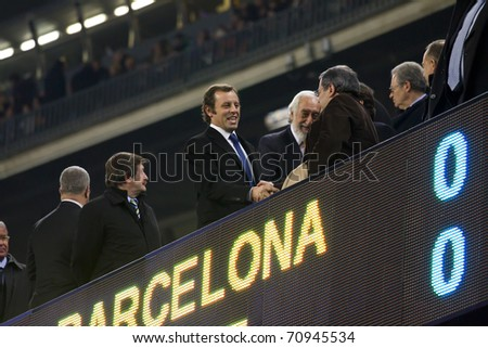 BARCELONA - DECEMBER 13: Nou Camp stadium, FC Barcelona - Real Sociedad, 5 - 0. In the picture, Sandro Rosell, president of FC Barcelona (middle). December 13, 2010 in Barcelona (Spain). - stock photo