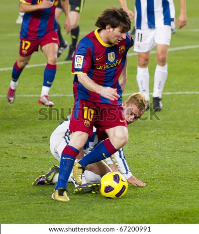 BARCELONA - DECEMBER 13: Nou Camp stadium, Spanish League match: FC Barcelona - Real Sociedad, 5 - 0. In the picture, Leo Messi. December 13, 2010 in Barcelona (Spain). - stock photo