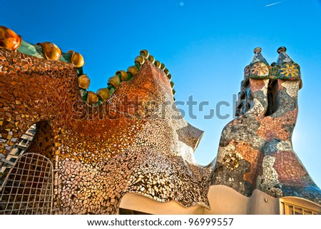 BARCELONA - DECEMBER 16: The roof of the house Casa Battlo (also could the house of bones) designed by Antoni Gaudi���­ with his famous expressionistic style on December 16, 2011 Barcelona, Spain - stock photo