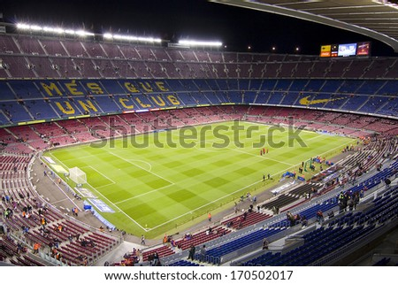 BARCELONA - DECEMBER 16: View of Camp Nou stadium before the Spanish League match between FC Barcelona and Atletico de Madrid, final score 4 - 1, on December 16, 2012, in Barcelona, Spain. - stock photo
