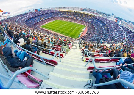 BARCELONA - FEB 21: A general view of the Camp Nou Stadium in the football match between Futbol Club Barcelona and Malaga of the Spanish BBVA League on February 21, 2015 in Barcelona, Spain. - stock photo