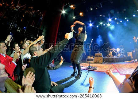 BARCELONA - FEB 28: Fans at the Amaia Montero (artist) concert at Barts Stage on February 28, 2015 in Barcelona, Spain. - stock photo