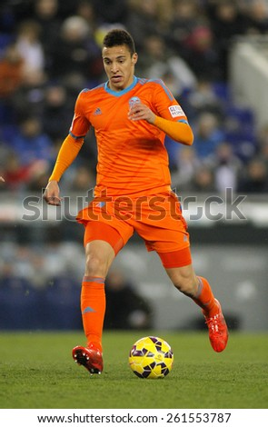 BARCELONA - FEB, 8: Filipe Augusto of Valencia CF during spanish League match against RCD Espanyol at the Estadi Cornella on February 8, 2015 in Barcelona, Spain - stock photo