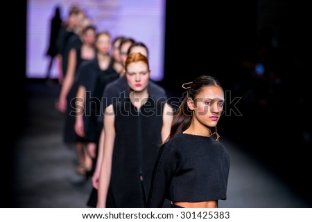 BARCELONA - FEB 5: Models walk the runway for the Who collection at the 080 Barcelona Fashion Week 2015 Fall Winter on February 5, 2015 in Barcelona, Spain. - stock photo