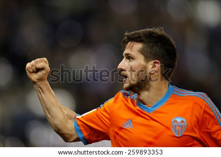 BARCELONA - 8, FEB: Pablo Piatti of Valencia CF during spanish League match against RCD Espanyol at the Estadi Cornella on February 8, 2015 in Barcelona, Spain - stock photo