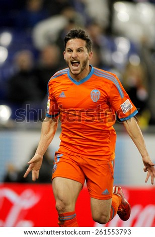 BARCELONA - FEB, 8: Pablo Piatti of Valencia CF during spanish League match against RCD Espanyol at the Estadi Cornella on February 8, 2015 in Barcelona, Spain - stock photo