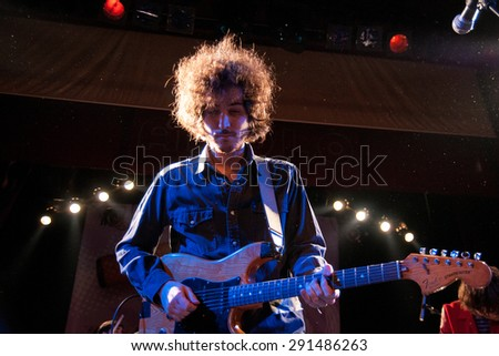 BARCELONA - FEB 19: The guitarist of Polock (band) performs at Apolo on February 19, 2011 in Barcelona, Spain. - stock photo