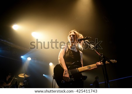 BARCELONA - FEB 6: Wolf Alice (band) in concert at Razzmatazz stage on February 6, 2016 in Barcelona, Spain. - stock photo