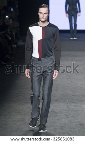 BARCELONA - FEBRUARY 04: a model walks on the Miquel Suay catwalk during the 080 Barcelona Fashion runway Fall/Winter 2015 on February 04, 2015 in Barcelona, Spain.  - stock photo