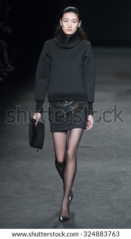 BARCELONA - FEBRUARY 04: a model walks on the Page catwalk during the 080 Barcelona Fashion runway Fall/Winter 2015 on February 04, 2015 in Barcelona, Spain.  - stock photo
