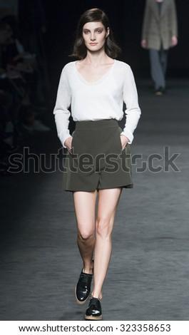 BARCELONA - FEBRUARY 03: a model walks on the Sita Murt catwalk during the 080 Barcelona Fashion runway Fall/Winter 2015 on February 03, 2015 in Barcelona, Spain.  - stock photo