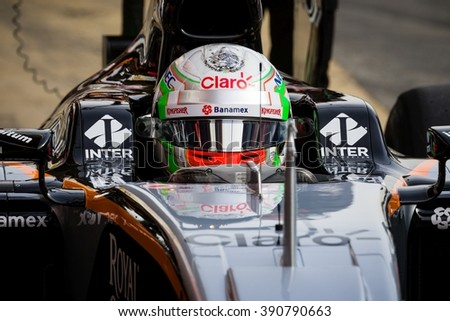 BARCELONA - FEBRUARY 22: Alfonso Celis of Force India F1 Team at Formula One Test Days at Catalunya circuit on February 22, 2016 in Barcelona, Spain. - stock photo