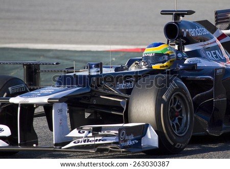 BARCELONA - FEBRUARY 21: Bruno Senna of Williams F1 team races during Formula One Teams Test Days at Catalunya circuit on February 21, 2012 in Barcelona, Spain. - stock photo