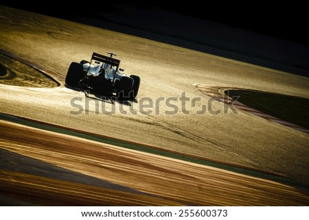 BARCELONA - FEBRUARY 20: Carlos Sainz Jr of Scuderia Toro Rosso F1 team at Formula One Test Days at Catalunya circuit on February 20, 2015 in Barcelona, Spain. - stock photo