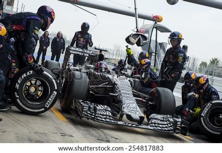 BARCELONA - FEBRUARY 21: Daniil Kvyat of RedBull at third day of Formula One Test Days at Catalunya Circuit on February 21, 2015 in Barcelona, Spain. - stock photo