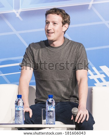 BARCELONA - FEBRUARY 24: Facebook CEO Mark Zuckerberg speaking at the Mobile World Congress on February 24, 2014, Barcelona, Spain.  - stock photo