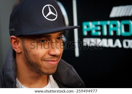 BARCELONA - FEBRUARY 28: Lewis Hamilton of Mercedes AMG Petronas F1 team at Formula One Test Days at Catalunya circuit on February 28, 2015 in Barcelona, Spain. - stock photo