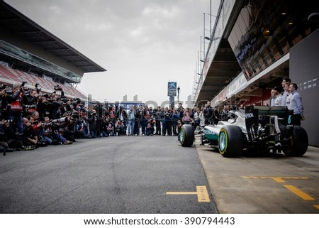 BARCELONA - FEBRUARY 22: Mercedes car launch at Formula One Test Days at Catalunya circuit on February 22, 2016 in Barcelona, Spain. - stock photo
