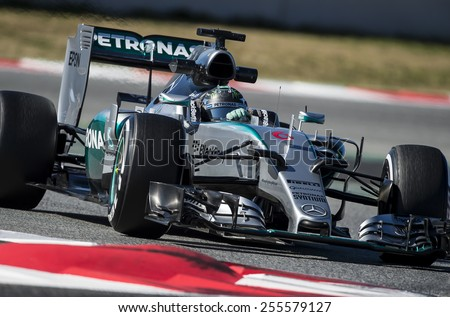 BARCELONA - FEBRUARY 22: Nico Rosberg of Mercedes at fourth day of Formula One Test Days at Catalunya Circuit on February 22, 2015 in Barcelona, Spain. - stock photo