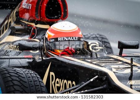 BARCELONA - FEBRUARY 28: Romain Grosjean of Lotus F1 team during Formula One Test Days at Catalunya circuit on February 28, 2013 in Barcelona, Spain. - stock photo