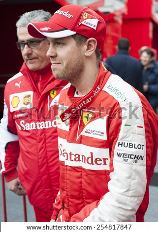 BARCELONA - FEBRUARY 21: Sebastian Vettel of Ferrari at third day of Formula One Test Days at Catalunya Circuit on February 21, 2015 in Barcelona, Spain. - stock photo