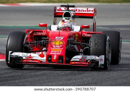 BARCELONA - FEBRUARY 22: Sebastian Vettel of Scuderia Ferrari F1 Team at Formula One Test Days at Catalunya circuit on February 22, 2016 in Barcelona, Spain. - stock photo