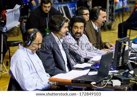 BARCELONA - FEBRUARY 29: Some journalists working at the Euroleague basketball match between FC Barcelona and Maccabi Electra, final score 70-67, on February 29, 2012, in Barcelona, Spain. - stock photo