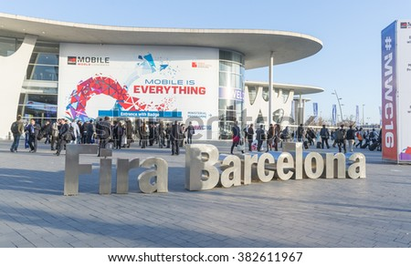 BARCELONA - FEBRUARY 24: the new Samsung Galaxy S7 on the stand of the the Mobile World Congress 2016 on February 24, 2016, Barcelona, Spain.  - stock photo