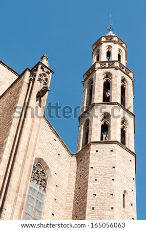 Barcelona - gothic cathedral Santa Maria del mar  - stock photo