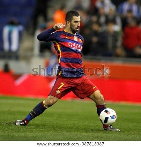 BARCELONA - JAN, 13: Arda Turan of FC Barcelona during a Spanish Kings Cup match against RCD Espanyol at the Power8 stadium on January 13, 2016 in Barcelona, Spain - stock photo