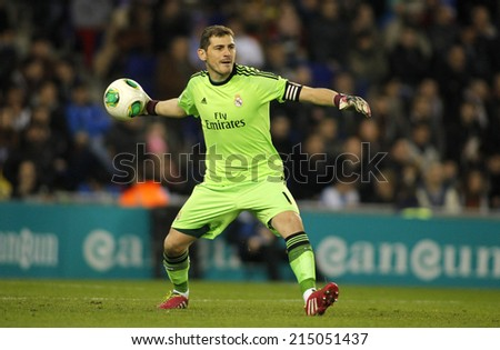 BARCELONA - JAN, 21: Iker Casillas of Real Madrid during the Spanish Kings Cup match between Espanyol and Real Madrid at the Estadi Cornella on January 21, 2014 in Barcelona, Spain - stock photo