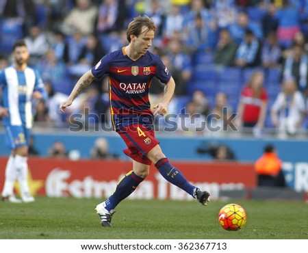 BARCELONA - JAN, 2: Ivan Rakitic of FC Barcelona during a Spanish League match against RCD Espanyol at the Power8 stadium on January 2, 2016 in Barcelona, Spain - stock photo