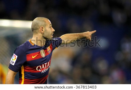 BARCELONA - JAN, 13: Javier Mascherano of FC Barcelona during a Spanish Kings Cup match against RCD Espanyol at the Power8 stadium on January 13, 2016 in Barcelona, Spain - stock photo