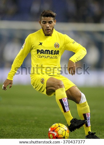 BARCELONA - JAN, 23: Jonathan dos Santos of Villareal CF during a Spanish League match against RCD Espanyol at the Estadi Cornella on January 23, 2016 in Barcelona, Spain - stock photo