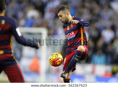 BARCELONA - JAN, 2: Jordi Alba of FC Barcelona during a Spanish League match against RCD Espanyol at the Power8 stadium on January 2, 2016 in Barcelona, Spain - stock photo