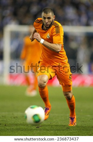 BARCELONA - JAN, 21: Karim Benzema of Real Madrid during the Spanish Kings Cup match between Espanyol and Real Madrid at the Estadi Cornella on January 21, 2014 in Barcelona, Spain - stock photo
