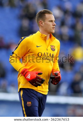 BARCELONA - JAN, 2: Marc-André ter Stegen of FC Barcelona before a Spanish League match against RCD Espanyol at the Power8 stadium on January 2, 2016 in Barcelona, Spain - stock photo