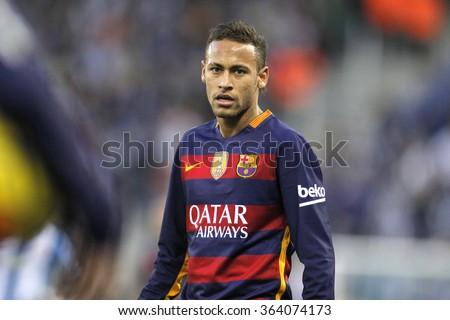 BARCELONA - JAN, 2: Neymar da Silva of FC Barcelona during a Spanish League match against RCD Espanyol at the Power8 stadium on January 2, 2016 in Barcelona, Spain - stock photo