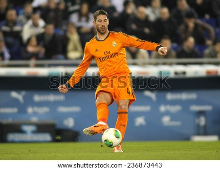 BARCELONA - JAN, 21: Sergio Ramos of Real Madrid during the Spanish Kings Cup match between Espanyol and Real Madrid at the Estadi Cornella on January 21, 2014 in Barcelona, Spain - stock photo