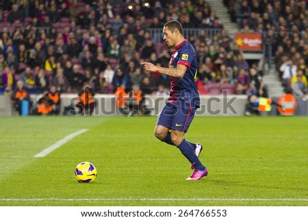 BARCELONA - JANUARY 27: Adriano Correia of FCB in action at the Spanish League match between FC Barcelona and Osasuna, final score 5 - 1, on January 27, 2013, in Barcelona, Spain. - stock photo