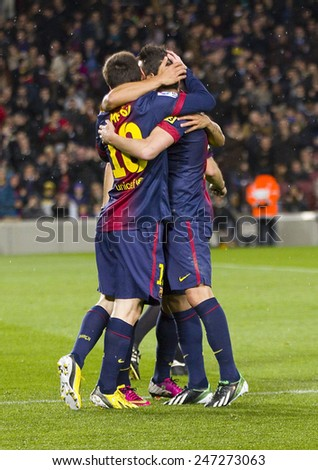 BARCELONA - JANUARY 27: FCB players celebrating a goal at the Spanish League match between FC Barcelona and Osasuna, final score 5 - 1, on January 27, 2013, in Barcelona, Spain. - stock photo