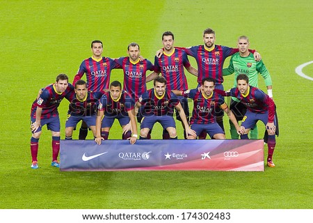 BARCELONA - JANUARY 26: FCB players posing for photos before the Spanish league match between FC Barcelona and Malaga CF, final score 3-0, on January 26, 2014, in Barcelona, Spain. - stock photo