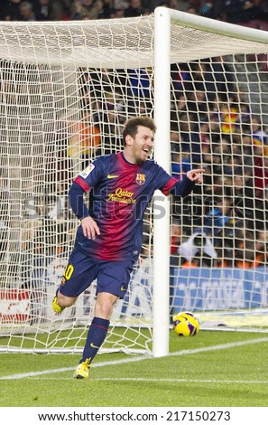 BARCELONA - JANUARY 27: Leo Messi of FCB celebrating his goal at the Spanish League match between FC Barcelona and Osasuna, final score 5 - 1, on January 27, 2013, in Barcelona, Spain. - stock photo